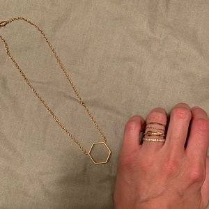 Gold necklace & ring set